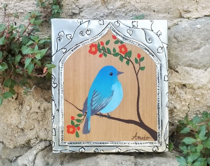 Table blue bird painting pasin indigo and metal frame pushed back