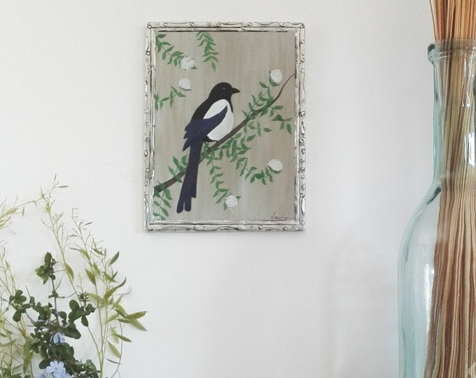 Painting painting bird the magpie chatty on wood and metal frame pushed back