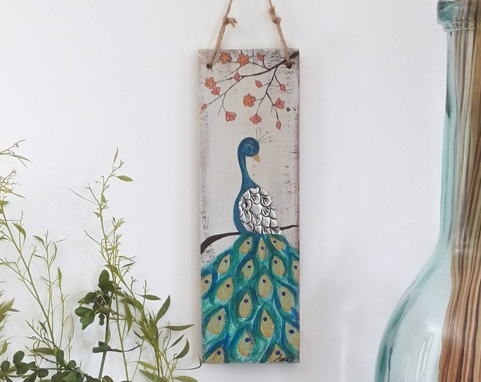 Painting poetic painting peacock and flowers