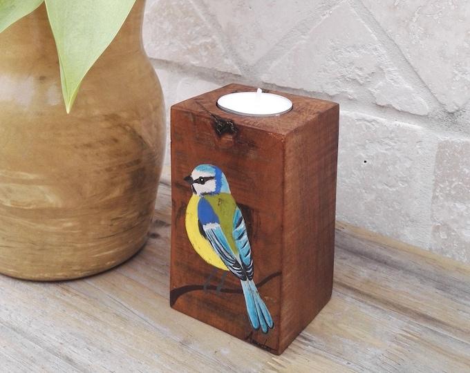 Wooden bougeoir paint bird Blue