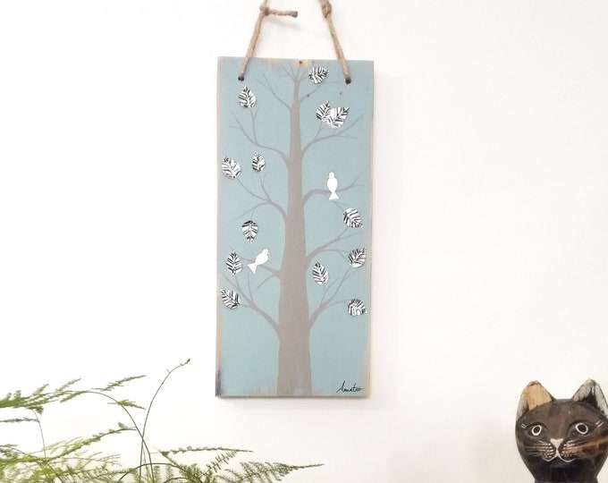 Painting painting on Wood Tree and Birds adorned with 100% recovered metal sheets