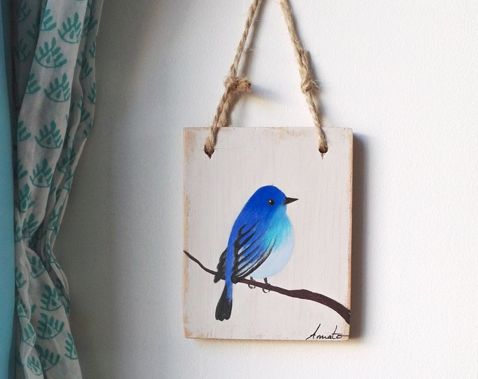 Small painting blue bird paint passerin indigo on recycled wood