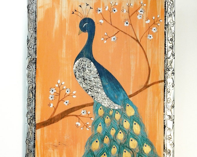 Painting on peacock wood and metal ornament pushed back