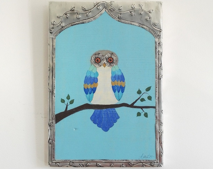 Nice painting painting on wood and metal frame pushed back