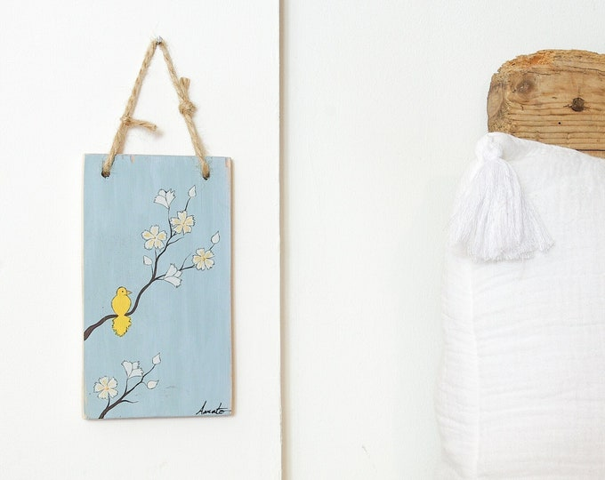 Small painting poetic and floral painting bird on branch