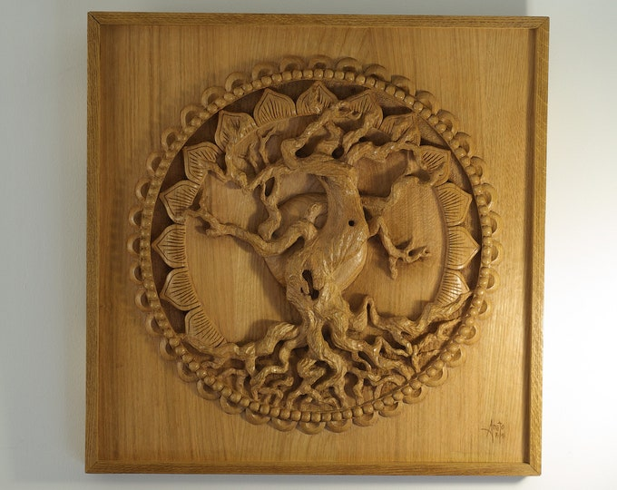 The Great Oak - Bas Relief sculpted with a gouge