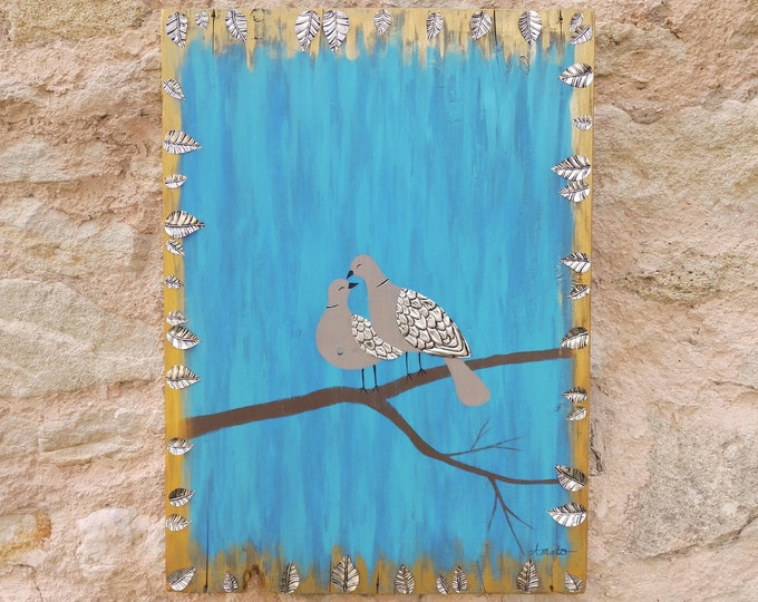 Table Love Doves Painting on wood and recycled repulsed metal