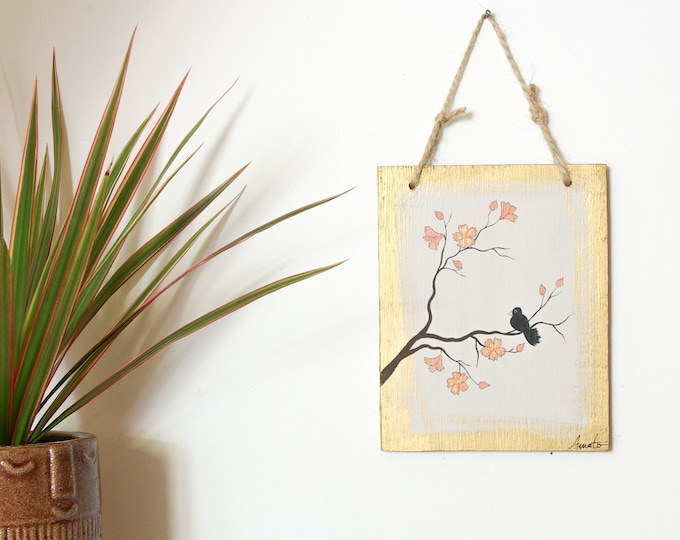 Painting poetic painting Black bird and flowers