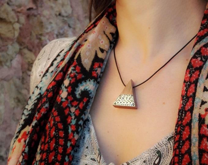 Collier en Noyer - triangle en bois et argent 925 - Collection Trinity Bijou mixte