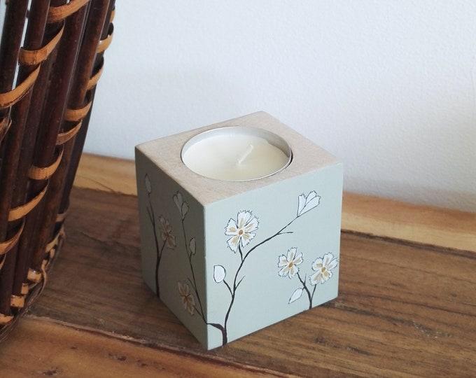 Wooden candlestick floral paint