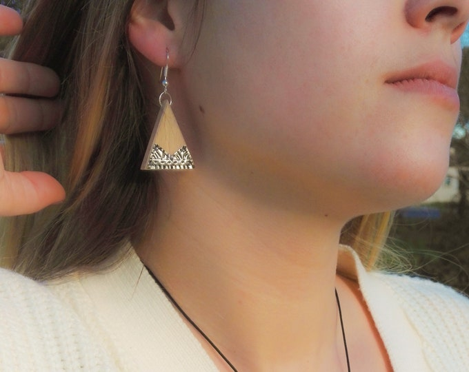 Beech earrings - wooden and silver triangle 925 - Trinity Mixed Bijou Collection