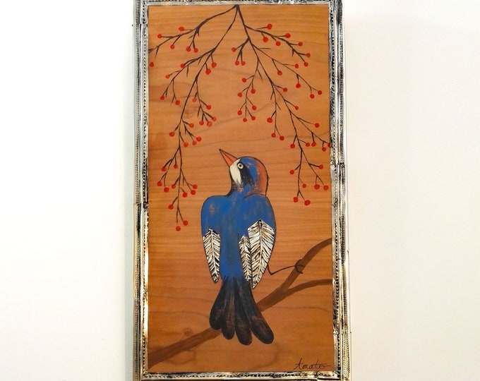 Painting Blue Pitta Bird Painting and Repulsed Metal