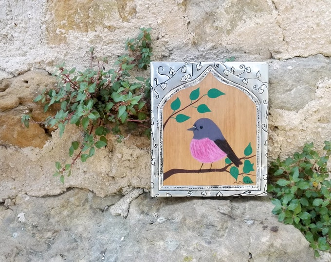 Painting painting bird pink miro incarnate and frame in repelled metal