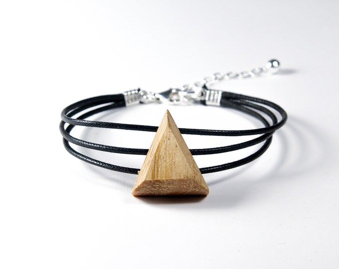 Wild Cherry Bracelet - Wooden and Silver Triangle 925 - Trinity Mixed Jewelry Collection
