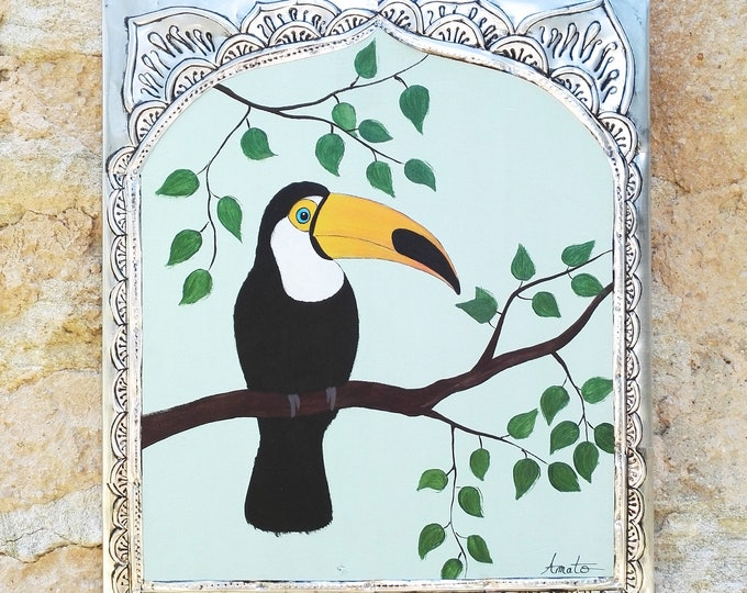 Painting exotic toucan toco painting on wood and recycled repulsed metal frame