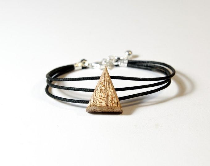 Bracelet en Acajou - triangle en bois et argent 925 - Collection Trinity Bijou mixte