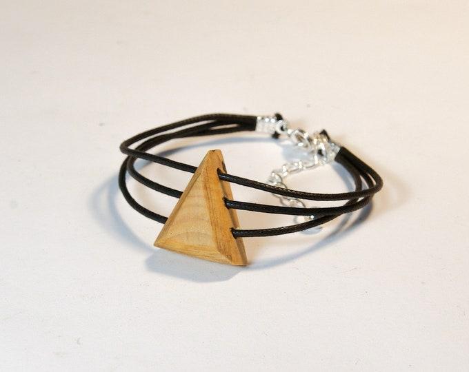 Bracelet en Buis - triangle en bois et argent 925 - Collection Trinity Bijou mixte