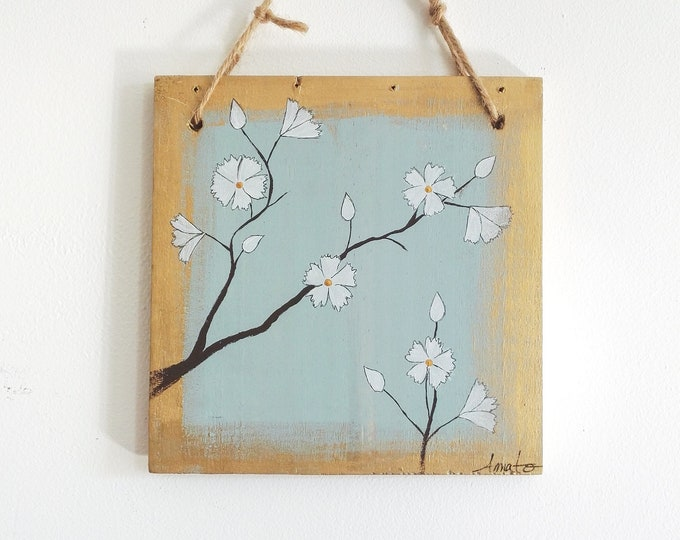 Small painting floral painting on wood