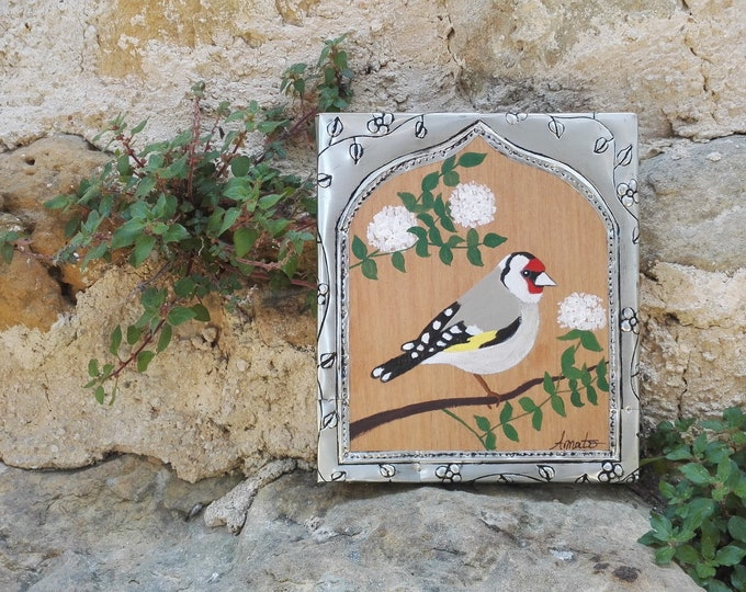 Table painting bird painting elegant thistle and repulsed metal frame