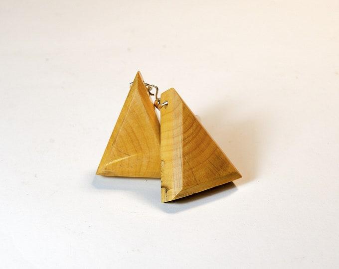 Boucles d'oreilles en Buis - triangle en bois et argent 925 - Collection Trinity Bijou mixte