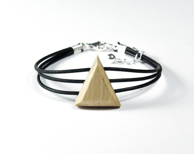 Bracelet triangle en bois de charme et argent mixte