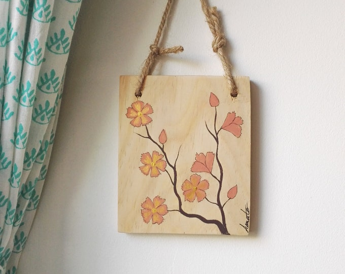Mini Table Floral Painting on Reclaimed Wood