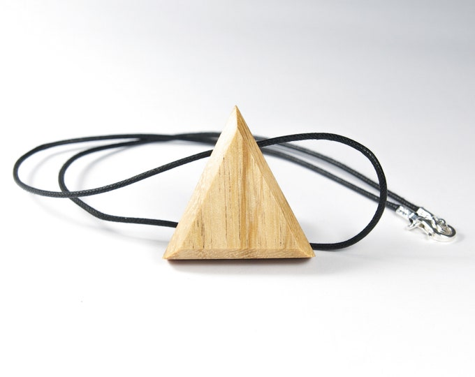 Wild Cherry Necklace - Wooden and Silver Triangle 925 - Trinity Mixed Jewelry Collection