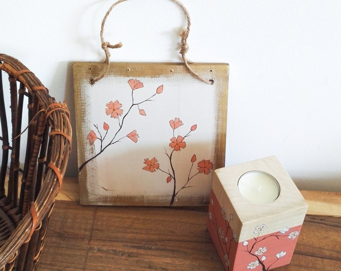 Small square painting floral painting of Japanese inspiration