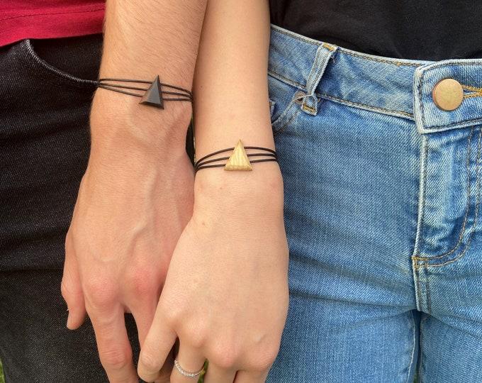 Bracelet en Chêne - triangle en bois et argent 925 - Collection Trinity Bijou mixte