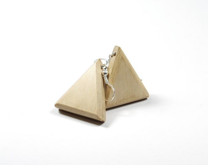 Boucles d'oreilles en Charme - triangle en bois et argent 925 - Collection Trinity Bijou mixte