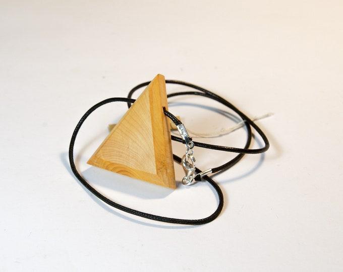 Collier en Buis - triangle en bois et argent 925 - Collection Trinity Bijou mixte