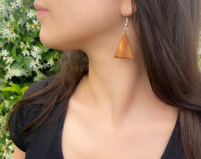 Boucles d'oreilles en Olivier - triangle en bois et argent 925 - Collection Trinity Bijou mixte