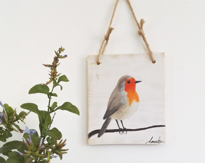 Small Painting Table on Wood Red-throat