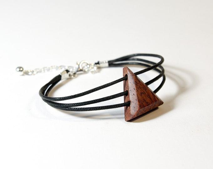 Bracelet en Bubinga - triangle en bois et argent 925 - Collection Trinity Bijou mixte