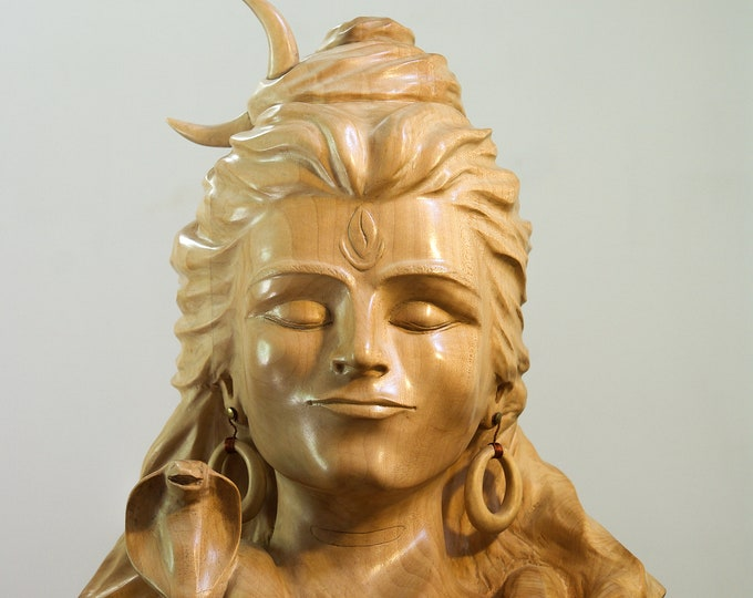 Shiva - Bust in Tilleul sulpté with gouge