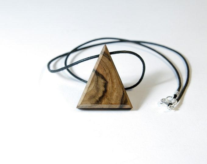Collier en Noyer Sauvage - triangle en bois et argent 925 - Collection Trinity Bijou mixte