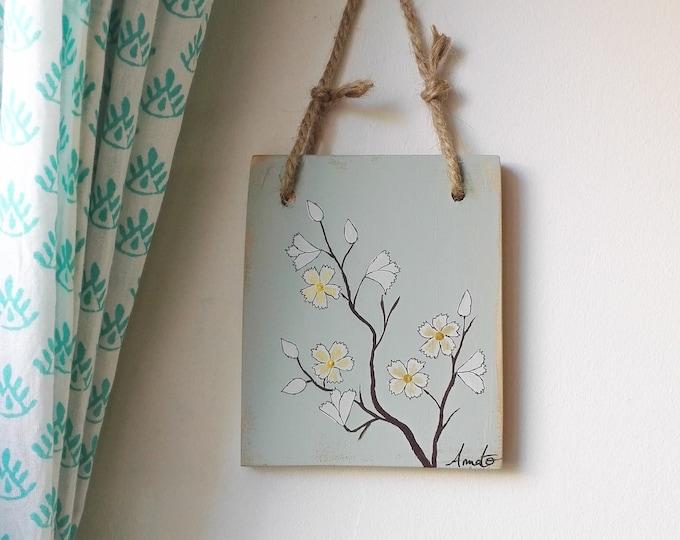 Mini painting floral painting on salvage wood