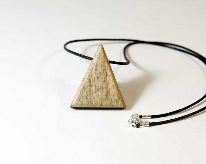 Collier en Noyer Blanc - triangle en bois et argent 925 - Collection Trinity Bijou mixte