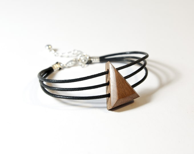 Walnut bracelet - wooden and silver triangle 925 - Trinity Mixed Jewel Collection