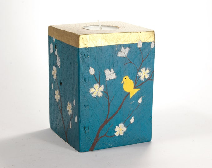 Wooden candlestick painting bird and flowers
