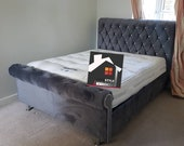 Chesterfield Sleigh bed with ottoman gas lift storage