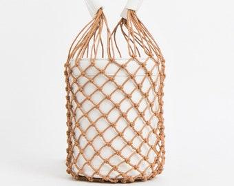 White bucket bag with mesh cover ladies bucket bag fashion bag in white /& brown trendy pia rossini bucket bag boho bag beach bag