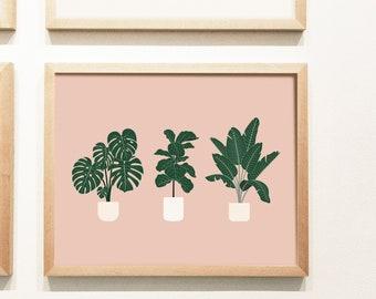 Bird of Paradise, Monstera, Fiddle Leaf Fig Tree Plant Print | Botanical Illustration Print | Plant Print | Gifts | Home Decor | Wall Art