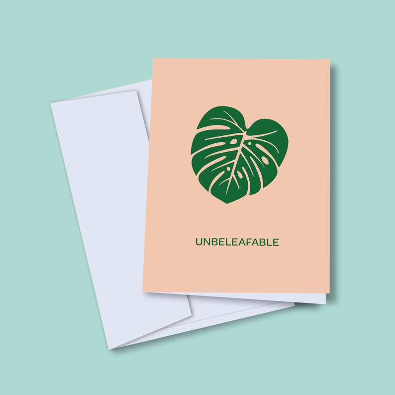 Unbeleafable Card  Greeting Card  Pun Card  Blank Card  A2 image 0
