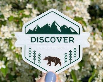 Discover Explore More Unique Clear Die Cut Sticker   Adventure Travel Mountain Decor Souvenir   Laptop Sticker   Water Bottle Sticker