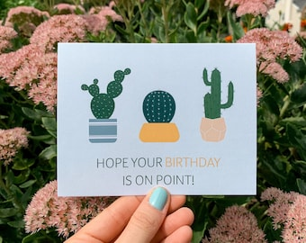 Hope Your Birthday is on Point Greeting Card | Illustration Cactus Plants Greeting Card | Pun Card | Blank Card | A2
