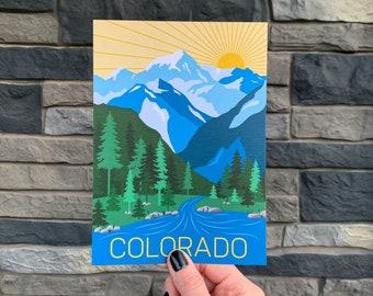 Colorado Travel Postcard Print | Travel Adventure | US State | Illustration Mountains | Souvenir | Gift | Decor