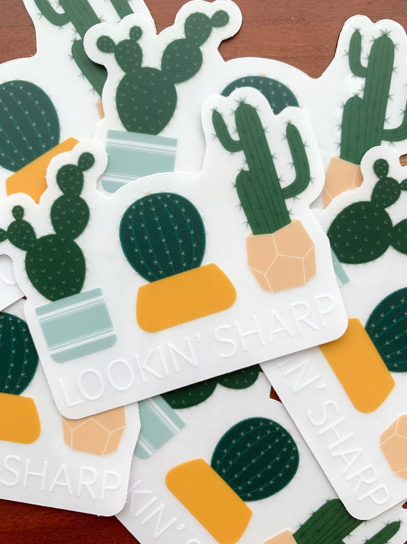 Lookin Sharp Pun Clear Stickers  Cacti Plant Decor Souvenir image 0