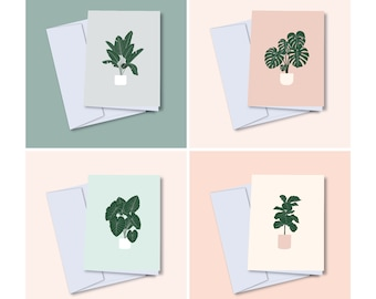 4 Various Plant Trees Illustrated Greeting Card | Montera, Fiddle Leaf Fig Tree, Bird of Paradise, Elephant Ear Plants | Blank Card | A2 |