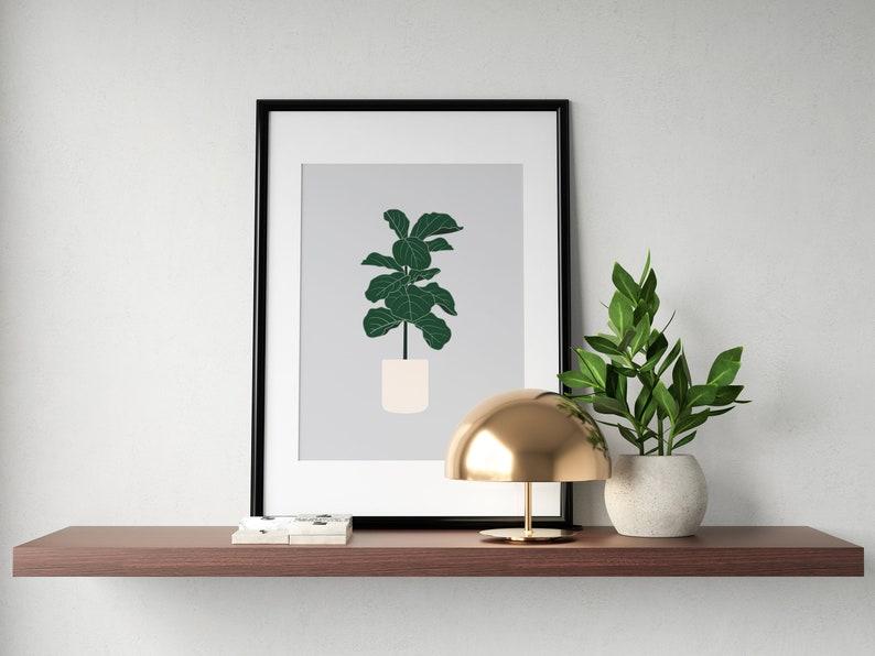 Fiddle-Leaf Fig Tree Plant Prints  Botanical Illustration Gray